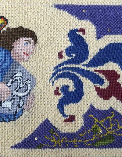 Tapestry kneelers, Sodality Chapel, Stonyhurst School, Lancs